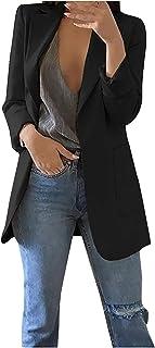 Tekaopuer Plus Size vrouwen pak jas, lange mouwen formele pak Womens open front blazers werk kantoor revers jas