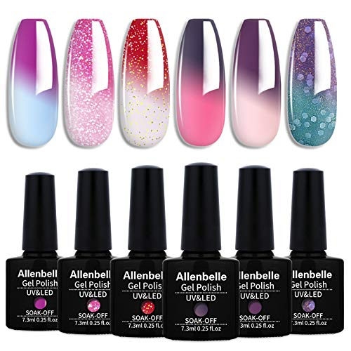 Allenbelle Color Changing Nail Polish Set Color Changing Gel Polish Set Mood Soak Off Uv Led Gel Nail Polish