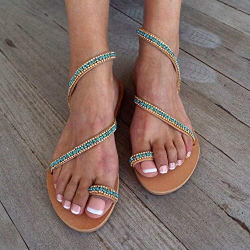 CCSSWW Zapatos Elegantes de Cuero de Verano para niñas de PU,Sandalias de Ruta Sandalias de perforación de Agua Plana.-marrón_42,Slip de Chanclas Planas con Punta de Playa Plana
