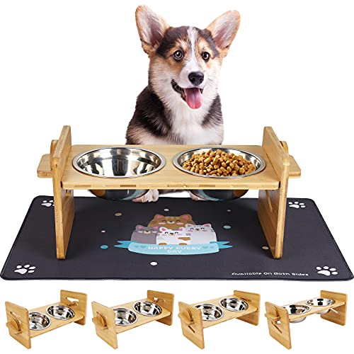 Raised Pet Bowls for Cats and Small Dogs - Adjustable Bamboo Elevated Small Dog Bowls Stand Feeder with 2 Stainless Steel Bowls and Highly Absorbent Waterproof Food Mat (Small)