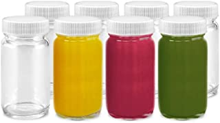 Juice Shot Bottles Set - 8 Pack Wide Mouth for Juicing, Beverage Storage, Liquids, 2 oz, Clear Glass with White Caps, Reus...