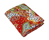 Flyingasedgle Indian Handmade Paisley Print Kantha Quilt, Kantha Blanket, Bed Cover, Twin/King Kantha Bedspread, Bohemian Bedding Kantha (Red, 90X60 Inches)