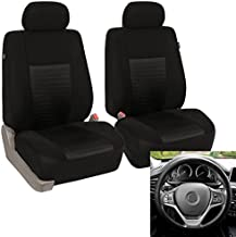 FH Group - FB060102 Trendy Elegance Car Seat Cover, s, Airbag & Split Ready w. FH3001 Silicone Steering Wheel Cover, Solid Black Color - Fit Most Car, Truck, SUV, or Van