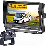 RV Backup Camera System with 7 Inch Screen for RV,Trailer,Tractor,Van, Camper One Power Rear View Observation AHD System,DIY Support 2nd License Plate Camera for Car,Truck LeeKooLuu G2