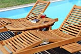 ASS 2X Hochwertige Teak Sonnenliege Gartenliege Strandliege Liegestuhl Holzliege Holz sehr robust - 8