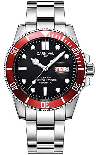 CARNIVAL Mens Rotary Bisel Máquina automática Acero Inoxidable Zafiro Vidrio Impermeable Reloj Negro (Rojo)