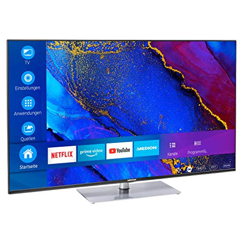 MEDION X15562 138,8 cm (55 Zoll) UHD Fernseher (Smart-TV, 4K Ultra HD, Dolby Vision HDR, MEMC, Micro Dimming, Netflix, Prime Video, WLAN, Triple Tuner, DTS, PVR, Bluetooth)