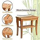 Premium Bamboo Shower Bench with Shelf - Wooden 2-Tier Bathroom and Shoe Organizer with Storage Shelf #4