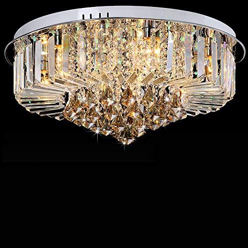 Lámpara de techo de 220 V, cristal de lujo LED europeo, instalación incorporada, luz de 3 colores, base de la bombilla E14, apta para comedor, dormitorio, salón
