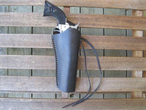 Black Right Handed Cross Draw Leather Gun Holster