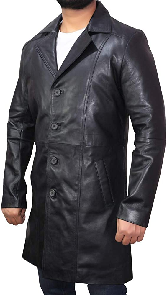 Fashion Men's Real Leather Coat Trench Coat / Rain Coat Long 3-Quarter Sheepskin Leather Coat for Men-AS/NZ-7219094