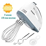 Electric Hand Mixer, 7-Speed Lightweight Powerful Handheld Whisk for Kitchen Baking Mini Egg Cream Food Beater, 12-Wire Stainless Steel Beater * 2, Dough Hook * 2, with Free Egg Separator, UK Plug