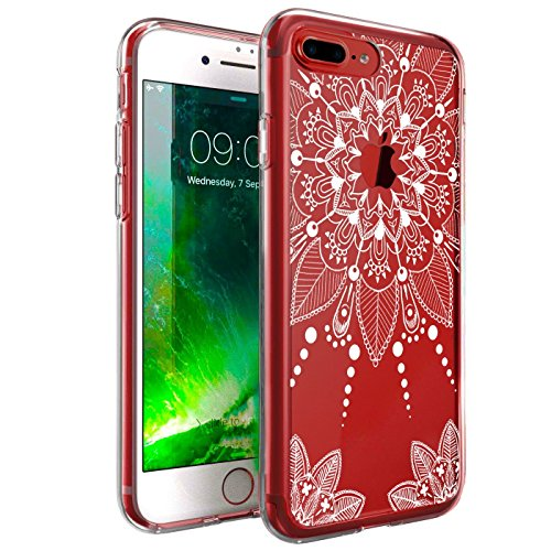 ZUSLAB iPhone 8 Plus/iPhone 7 Plus Funda, Bonita Mandala Flor Efecto Dibujo Clear Híbrido Volver PC Cubierta y TPU Bumper Protectora Carcasa para Apple iPhone 8 Plus/iPhone 7 Plus - Blanco Henna