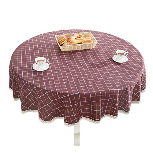 Bettery Heavy Weight Cotton Linen Tablecloth Lace Plaid Round Table Cloth for Kitchen Dining Room Tabletop Decoration, 36' - Round, Burgundy