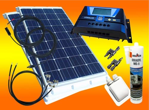 mächtig der welt bau-tech Solar Energy 200W Komplettes WoMo-Solarsystem für Wohnwagenhäuser, Boote, Camping und mehr…