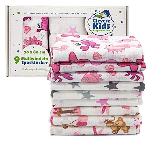 Clevere Kids Mulltücher   9er-Pack   bedruckt   OEKO-TEX   doppelt gewebt   70x80   Spucktücher (Mädchen)