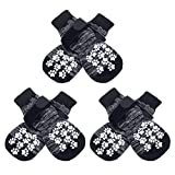 EXPAWLORER Double Side Anti-Slip Dog Socks with Adjustable Straps - 3 Pairs Strong Traction Control for Indoor on Hardwood Floor Wear, Best Puppy Pet Paw Protection