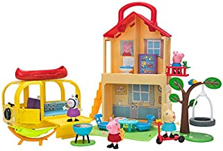 Peppa Pig Pop n' Playhouse and Play n' Go Campervan Combo Pack, Includes 4 Character Toy Figures Plus Playset Accessories – Toys for Kids - Amazon Exclusive