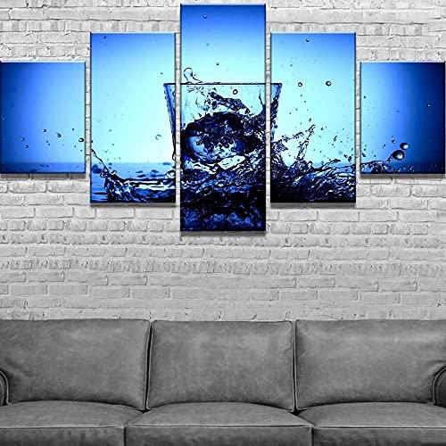 QWASD Splash De Taza De Agua Azul Cuadro En Lienzo Equipo De 5 Piezas Material Tejido No Tejido Impresión Artística Imagen Decor Pared