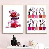 Póster Pintura en Lienzo Arte de la Pared Impresión de Esmalte de uñas Maquillaje Papel de Pared HD Imágenes de Estilo nórdico para la Sala de Estar Decoración del hogar 40x50cmx2 Sin Marco