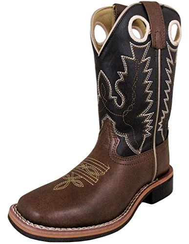 Silver Canyon Children Monterey Kids Western Brown Cowboy Boot for Boys and Girls, Distressed Brown, 12 M US Little Kid