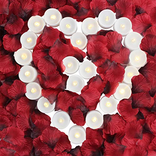 obmwang Pack of 24pcs Realistic Flameless LED Tea Light Candles and 2000pcs Dark Silk Rose Petals Artificial Red Rose Flower Petals, Ideal for Valentine's Day, Proposal, Wedding, Anniversary, Honeymoo