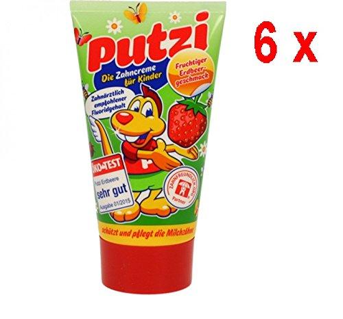 Putzi Zahncreme für Kinder Erdbeere - 6er Pack (6 x 50 ml)