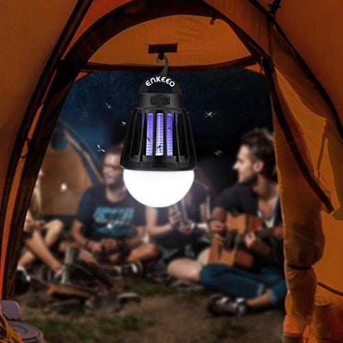 ENKEEO Lampe Anti Moustiques Lampe Camping Lanterne Camping Anti Moucheron Etanche avec 2000mAh Batterie Rechargeable (Noir)