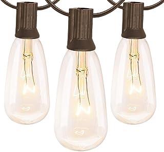 20Ft outdoor garden light string st40 global light string with transparent light bulb, (plus