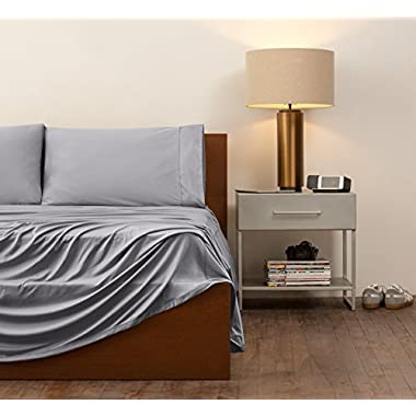 SHEEX Original Performance Sheet Set with 2 Pillowcases, Ultra-Soft Fabric Transfers Body Heat and Breathes Better Than Traditional Cotton, Graphite (Split King)