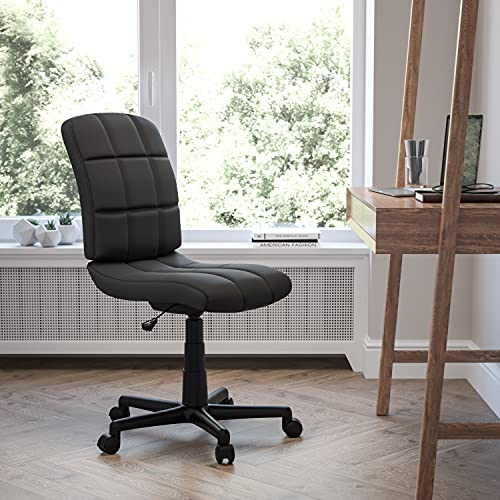 Flash Furniture Mid-Back Black Quilted Vinyl Swivel Task Office Chair