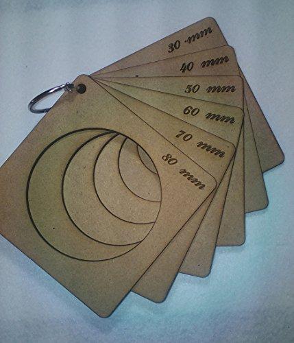 Lote de 6 plantillas para termoformar cabezas de fofuchas con anilla 80-70-60-50-40-30mm