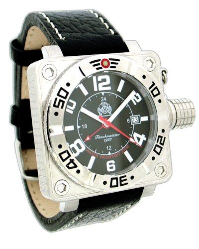 Tauchmeister 1937 T0145 - Reloj para Hombres, Correa de Cuero Color Negro