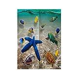 Cortina de Puerta Japonesa Azul Verde Amarillo Mar Animal Estrella De Mar Cortina Larga de Estilo japonés de Lino Grueso Noren, Separador de Espacios, Tapiz, para Textiles del hogar 85x150 cm