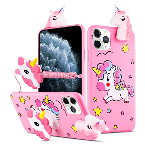HikerClub Galaxy A01 Case Unicorn Cute 3D Cartoon Case with Airbag Holder Stand and Lanyard Soft TPU Ultra Thin Slim Shockproof Protection Case (My Little Pony, A01)