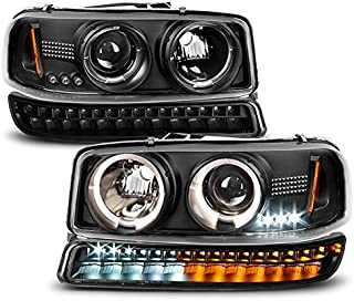 For 1999-2006 GMC Sierra | Yukon Replacement Black Halo Projector Head Lights Pair + LED Bumper Lights