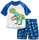Simple Joys by Carter's Baby Boys' Toddler 2-Piece Swimsuit Trunk and Rashguard, Blue Dino, 2T