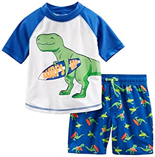 Simple Joys by Carter's Baby Boys' 2-Piece Swimsuit Trunk and Rashguard, Blue Dino, 6-9 Months (B072QGV2FX)   Amazon price tracker / tracking, Amazon price history charts, Amazon price watches, Amazon price drop alerts