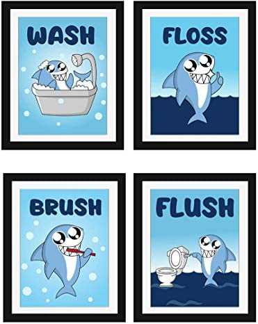 Modern 5th Kids Bathroom Signs Cute Shark Print with Mini Wall Stickers Set of 4 Unframed 8 product image
