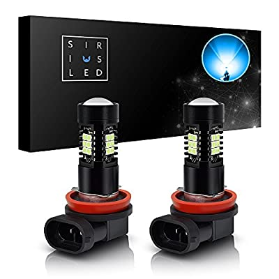 SiriusLED Ice Blue Color LED Fog Light DRL Projector lens Super Bright Plug and Play Aluminum Body Pack of 2