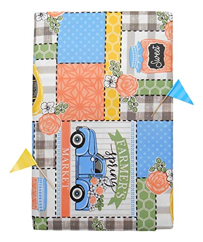 "Vinyl Tablecloth Farmer's Spring Market Patchwork on Gray and White Buffalo Plaid Background with 2 Matching Picks (60"" Round)"