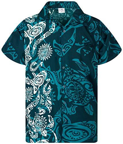 King Kameha Funky Hawaiihemd, Kurzarm, Maori Wedding New, Petrolgrün, L