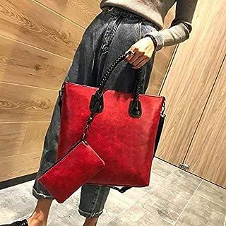YKDY Shoulder Bag Leisure Fashion PU Leather Shoulder Bag Handbag (Black) (Color : Red)