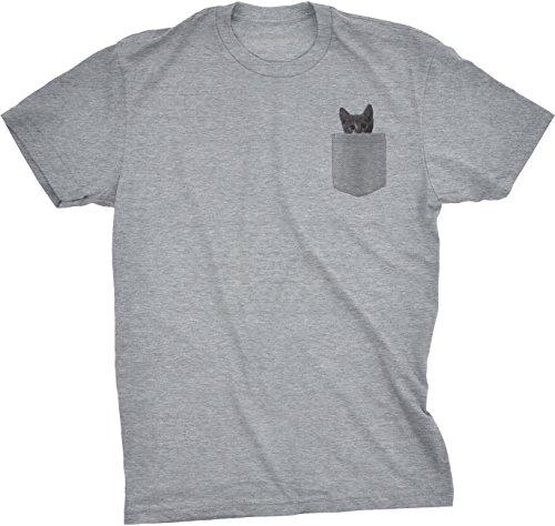 Mens Pocket Cat T Shirt Funny Printed Peeking Pet Kitten Animal Tee for Guys (Light Heather Grey) - XXL