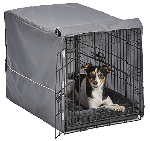 New World Double Door Dog Crate Kit | Dog Crate Kit Includes One Two-Door Dog Crate, Matching Gray Dog Bed & Gray Dog Crate Cover, 30-Inch Kit Ideal for Medium Dog Breeds