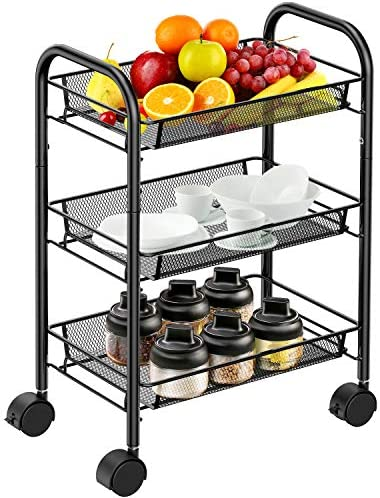 3-Tier Mesh Wire Rolling Utility Cart Multifunction...