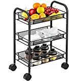 3-Tier Mesh Wire Rolling Cart Multifunction Utility Cart Rolling Metal...