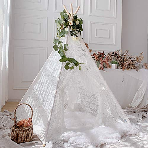 Avrsol Kids Teepee Boho Sheer Lace Tipi Canopy Play Tent for Wedding, Party, Photo Prop