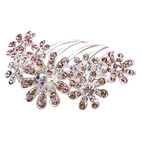 Sanwood Broche Cheveux De Mode Fleur Peigne Strass Chapeau Clip De Mariage Partie De Mariée pour Femmes Cadeau Pink