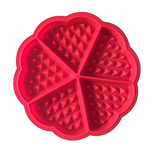 2 x 5 Cinq Bakeware Haute qualité en Silicone gaufré Moules Mini en Forme de cœur Moule à gâteau Chocolat Moule à Muffin Cuisson DIY Outil, Rouge